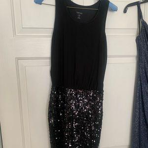 Black scrunched sequin dress